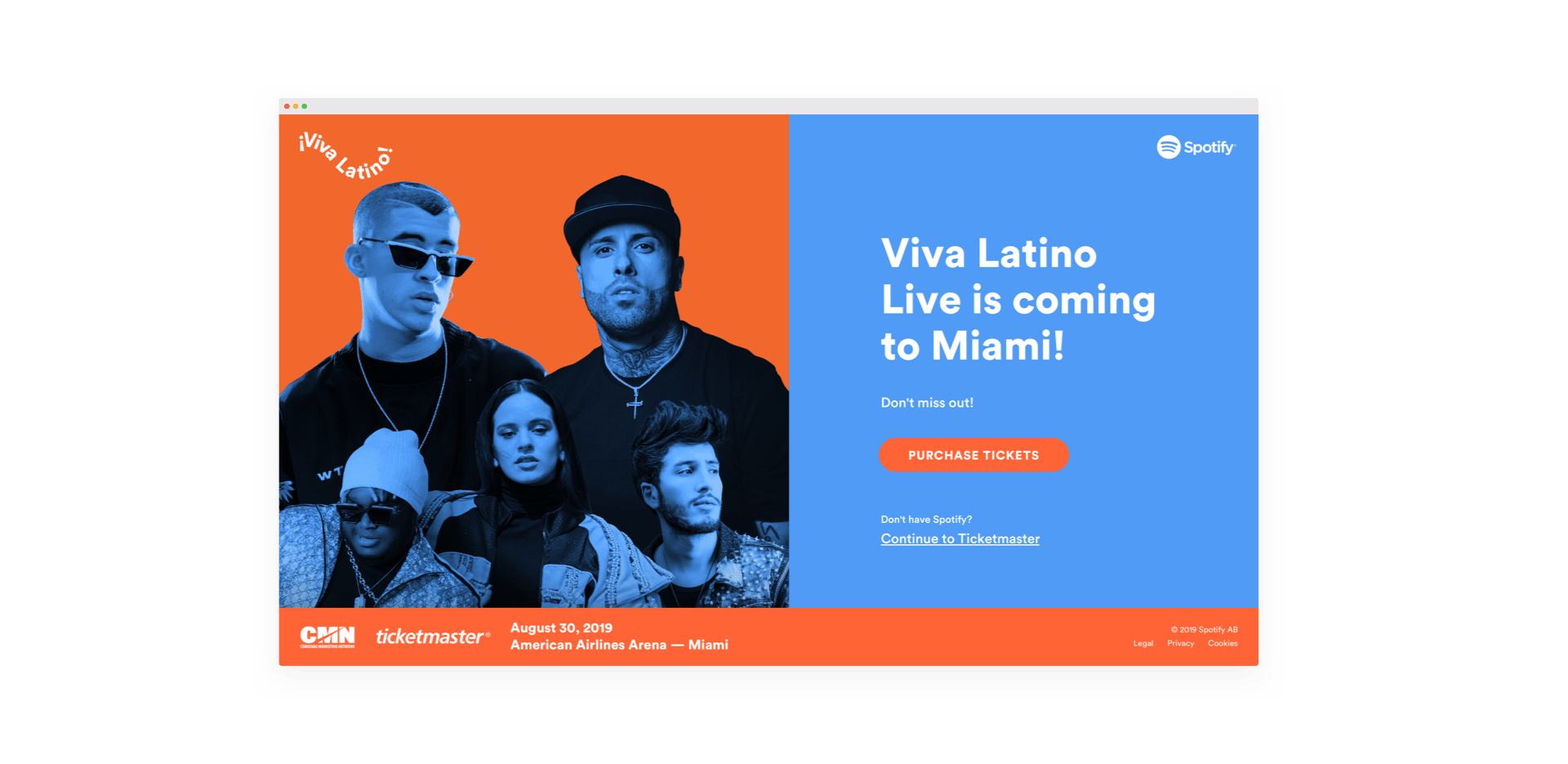 Screenshot of the Viva Latino Live landing page