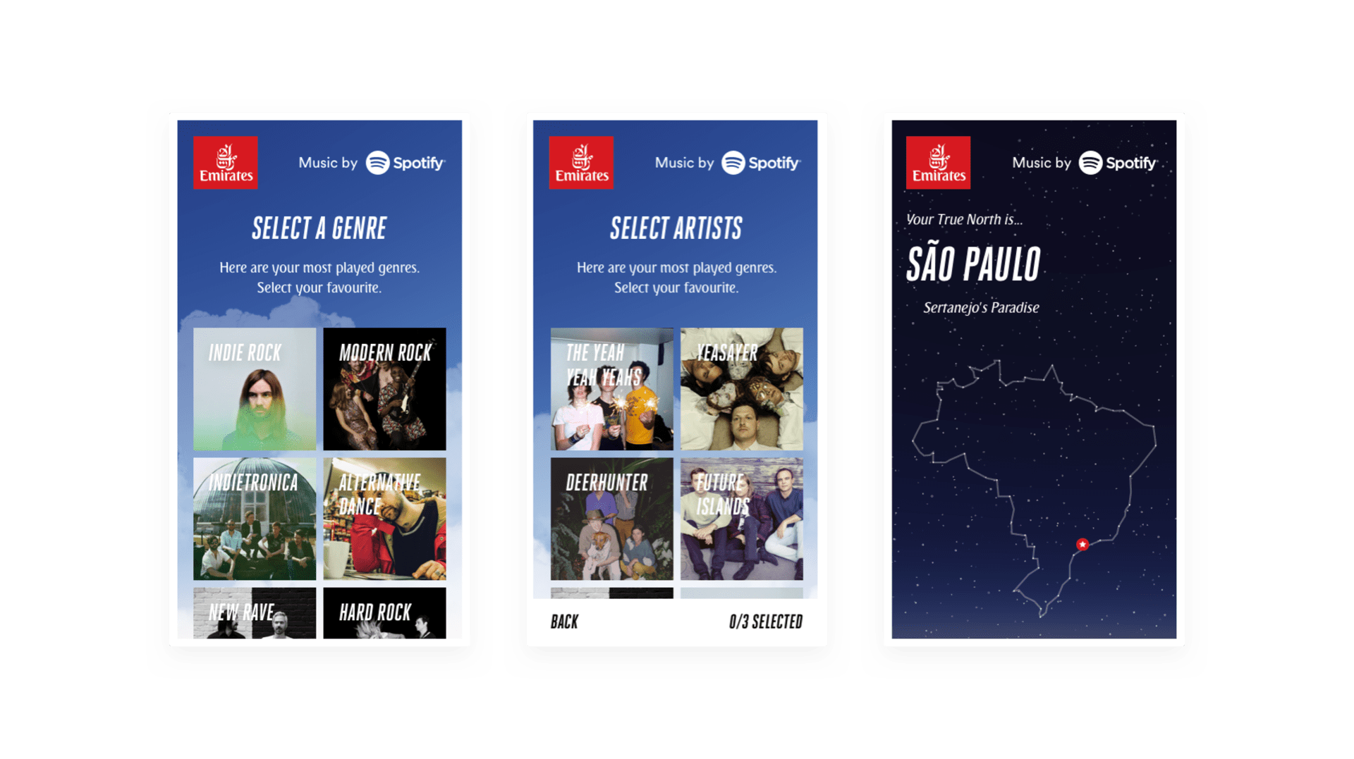 Emirates True North mobile screens