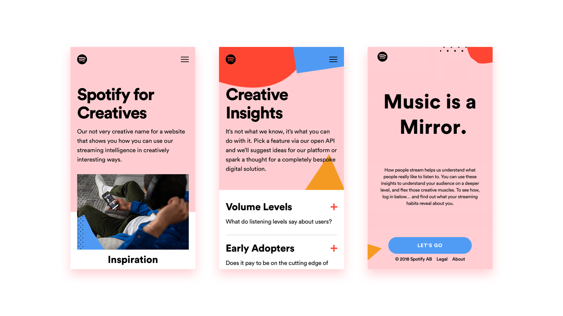 Three screen grabs of the Spotify For Creatives website