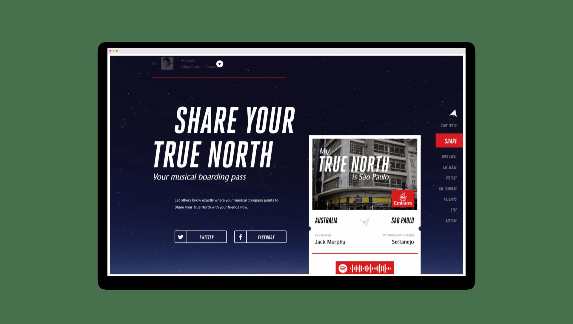 Emirates True North Share Screen